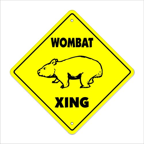 "Wombat Crossing Sign Zone Xing | Indoor/Outdoor | 12"" Tall Plastic Sign animals Australian marsupials Australia funny"
