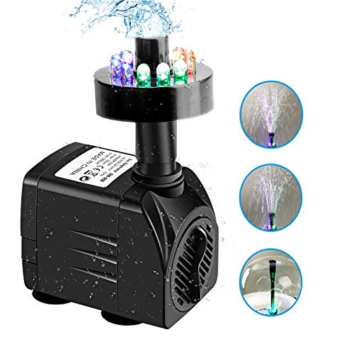 Fountain Pump with LED Light for Water Feature,Outdoor Pond, Small Pools, Aquarium Fish Tanks, Indoor Fountain Pumps, Home Décor Fountain (Black) (Black)