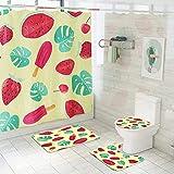 Badezimmer-Set,Duschvorhang,WC-Set,frische Wassermelone Erdbeer-Duschvorhang-Sets 4-teiliges wasserdichtes Badteppich-Set Sockelteppich + Deckel Toilettendeckel + Bad