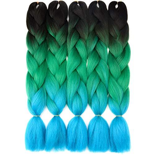 VCKOVCKO Ombre Braiding Hair Ombre Jumbo Braiding Hair Black Jumbo Braids Hair Extensions Synthetic Kanekalon Fiber Braiding Hair for Twist 24',5 Bundles/Lot,Black-Green-Blue