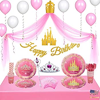 Kidohub Princess Party Theme 2 sets in 1  Birthday Princess Decorations Tulle Backdrop & Disposable Tableware Bundle Pack 145 Pcs Serves 16