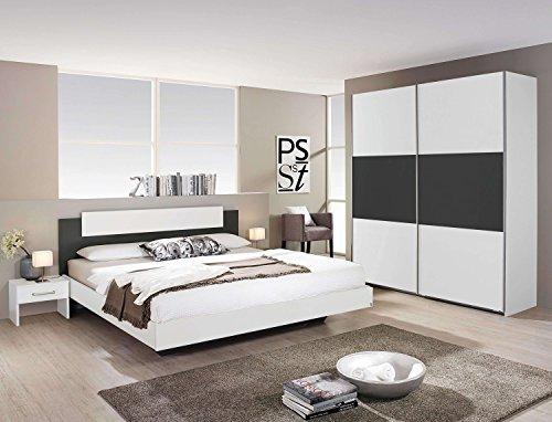 Avanti Trendstore - Rubi - Komplettes Doppelbett-Schlafzimmer aus Holzdekor Weiß und Grau Metallic, inklusive Bettanlage mit 2 Nachttischen und großem Schwebetürenschrank