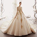 KUANGQIANWEI 2020 su ordine dalla principessa cerimonia nuziale in oro Appliques perline a maniche lunghe Abiti da sposa (Color : Red, US Size : Custom Size)