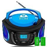 KLIM Boombox - Radio CD Portatil con Bluetooth, MP3, USB, AUX, Radio FM + Reproductor de CD con pilas recargables incluidas + Modo inalámbrico y con cable +Diseño compacto y resistente NUEVO 2021 Azul