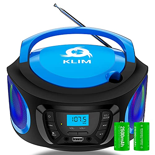 KLIM Boombox Radio mit CD Player. FM-Radio, CD Player, Bluetooth, MP3, USB, AUX + Inklusive wiederaufladbaren Akkus + Kabelgebundene und kabellose Modi + Kompakt und robust + Neue 2021 + Blau