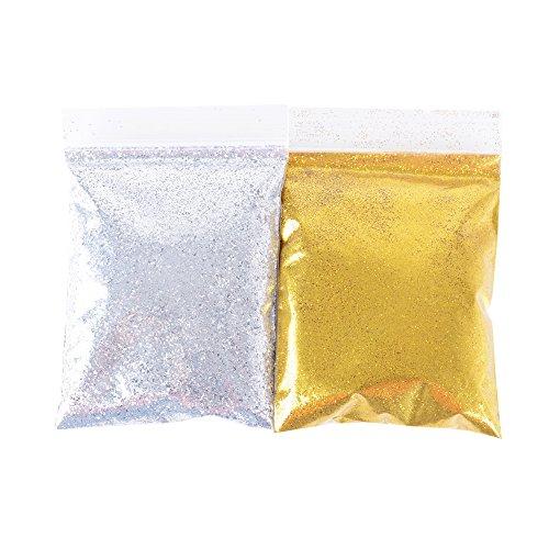 (Gold + Silber) 100g Glitzer Glitzerpulver Glitter Pulver Glitzer Basteln Glitzer Staub für Schleim Slime Kunst Handwerk Basteln und Nagelkunst
