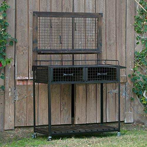 Outdoor Wood Potting Bench Rustic Dark Brown Black Mobile Garden Workstation