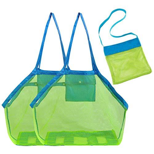 Guador Netztasche Strandtasche, 3 Stücke Kinder Aufbewahrungsnetz Aufbewahrung Netz Tasche Badetasche Beachbag Faltbar Strand-Einkaufstasche für Familie Urlaub