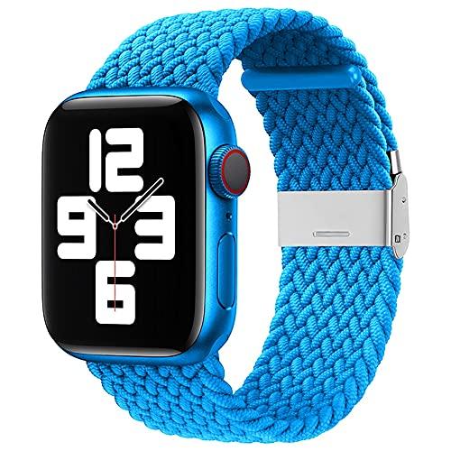Ternzun Banda de tela de nailon para Apple Watch Series 6, SE, 5, 4, 3, 38 mm, 40 mm, 42 mm, 44 mm, correa trenzada ajustable para reloj único (para 42 mm o 44 mm, 24 celeste)