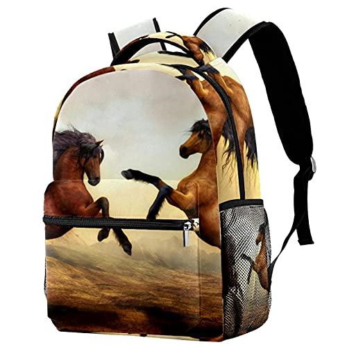 Backpack Mochila De Viaje De Ocio Juvenil Mochila Escolar para Niños Y Niñas Pareja Animal Caballo