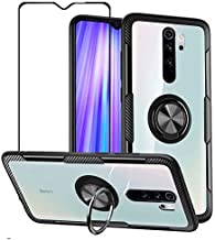 VICEANICS for Xiaomi Redmi Note 8 Pro Case, Crystal Clear Armor Case Cover with Magnetic Finger Ring Holder Kickstand & Tempered Glass Screen Protector, Black