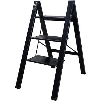 Baoyouni - Escalera de 3 peldaños ligera plegable de aluminio resistente, estante de almacenamiento con pedal ancho antideslizante para el hogar, oficina, plantas, exhibición de macetas, color negro: Amazon.es: Hogar