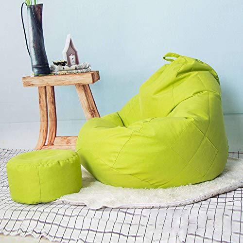 JHLD Sitzsack Bezug Ohne Füllung, Plüsch Spielzeug Aufbewahrungstasche Verdicken Baumwolle Und Leinen Sitzsackbezug Abnehmbare Waschbar Für Kinder Erwachsene-Grün-X-Large