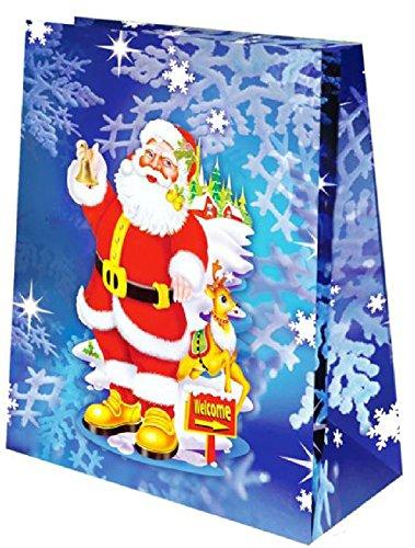 Sandy - Sac cadeau gélifié père noël fond bleu 23 x 19 cm