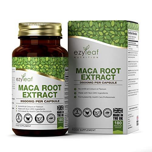 Ezyleaf Maca Root 3500mg | 180 Capsulas Veganas Extracto Potente 10:1 | Suplemento de Raiz de Maca para el Aumento de Energia | Sin Gluten, OGM, Lacteos o Alergenos
