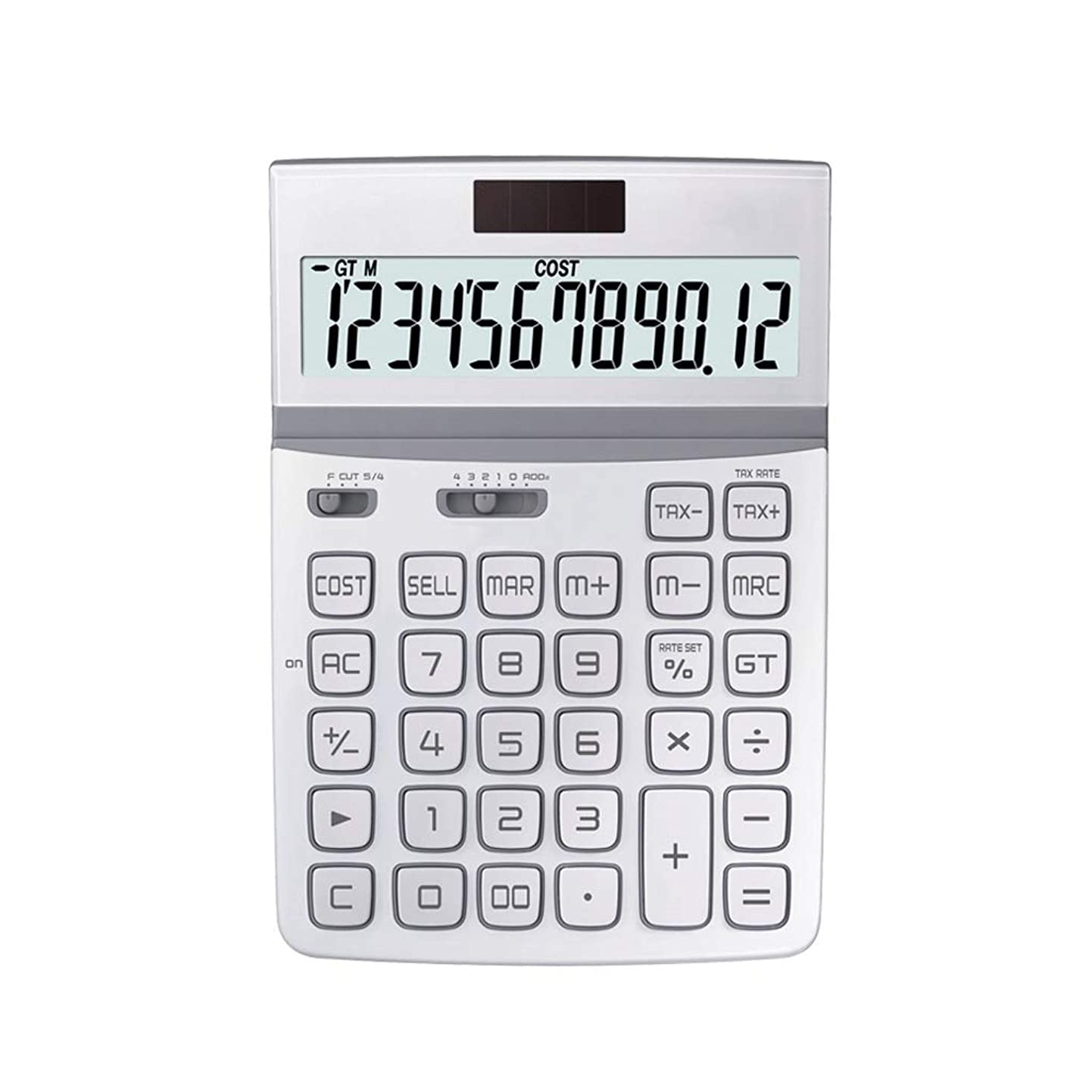 ネズミ形成反響する事務所 大画面12ビットデジタルHDディスプレイ保護アイソーラーボタンバッテリー二重保険金融電卓 算数 (Color : White)