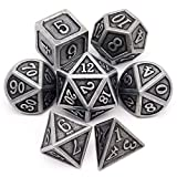 Haxtec Antique Iron Metal Dice Set 7 Die D&D Dice for DND Dungeons and Dragons TTRPG