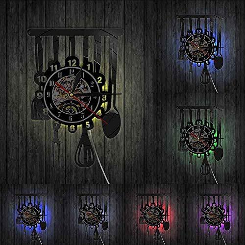 Reloj de pared con letrero de cocina para comedor, restaurante, cubiertos, decoración de pared, utensilios, estilo vintage
