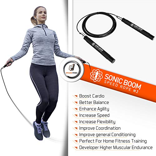 Sonic Boom M2 High Speed Jump Rope - Patent Pending Self-Locking, Screw-Free Design – Weighted, 360 Degree Spin, Silicone Grip with 2 Speed Rope Cables for Home Workout, & More