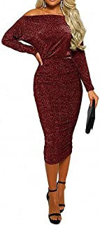 Womens Sexy Sparkly Glitter Long Sleeve One Off Shoulder Ruched Sheath Irregular Midi Dress