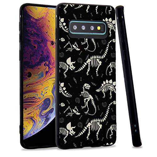 LuGeKe Dinosaur Fossils Phone Case Cover for Samsung Galaxy S10 Plus,Cool Dinosaur Printed Soft Silicone Flexible Phone Cover Shell Frame for Samsung Anti-Scratch and Comfortable(Dinosaur Bones)