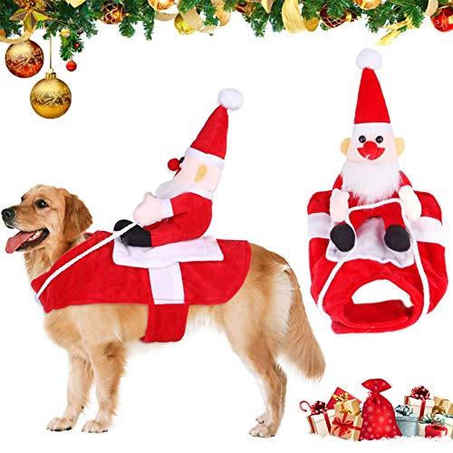 Traje de Perro Santa,Disfraz De Navidad para Mascotas,Navidad Ropa para Mascotas,Santa Navidad Perro Disfraces, Disfraz de Gato Navidad,Disfraces de Navidad Perro,Santa Disfraz para Perros (S)