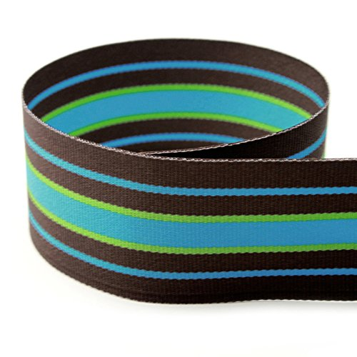 """USA Made 7/8"""" Bermuda Cool Striped Grosgrain Ribbon (Brown, Turquoise, and Lime Green Ribbon) - 20 Yards (Multiple Widths Available)"""