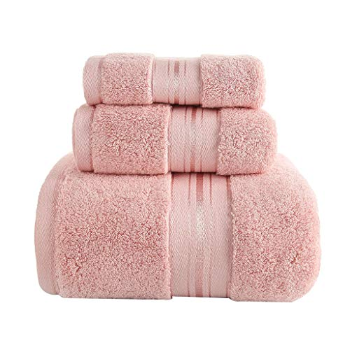 WYH Toallas de Mano Pack de 3 Toallas de Baño de Fundido Configurada Resistente Toallas de Playa Algodón Natural de Secado Rápido de Toallas de Sauna de Picnic Piscina Secado rápido (Color : Pink)