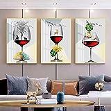 Arte moderno en lienzo Arte pop Copa de vino tinto Ciervo dorado Arte de la pared Pintura Carteles e impresiones de la sala Decoración para el hogar 50x75cm (19.69x29.53in) x3 Sin marco