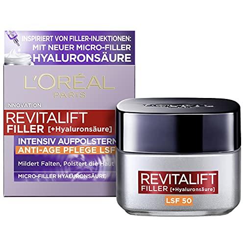 L'Oréal Paris Hyaluron Tagescreme mit LSF 50, Anti-Aging Gesichtspflege mit Micro-Filler Hyaluronsäure für Feuchtigkeit und Anti Falten Effekt, Revitalift Filler, 1 x 50 ml