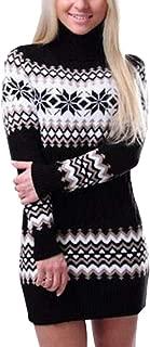 Christmas Sweater Coats Women Snowflake Printed Long Sleeve Turtleneck Sweater Dress Skirts