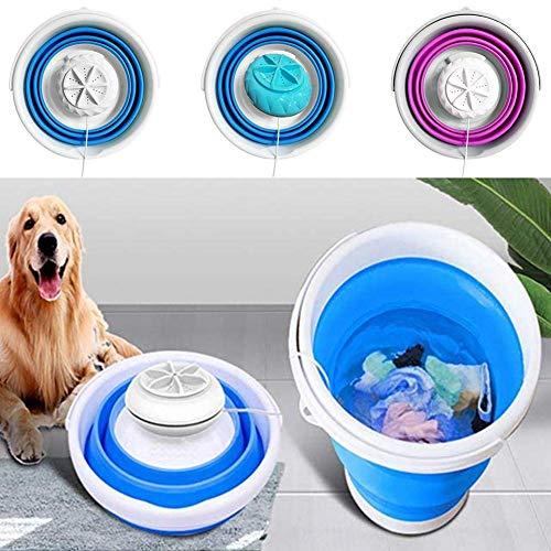 Mini lavadora turbo, lavadora de turbina ultrasónica plegable portátil, mini máquina de lavandería con alimentación por USB para apartamentos de camping dormitorios rv viaje de negocios azul + blanco