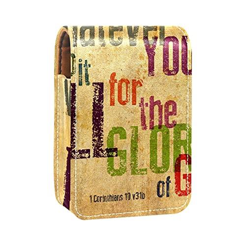 OLEEKA Estuche para lápiz Labial,con Espejo,Verso de la Biblia Cristiana