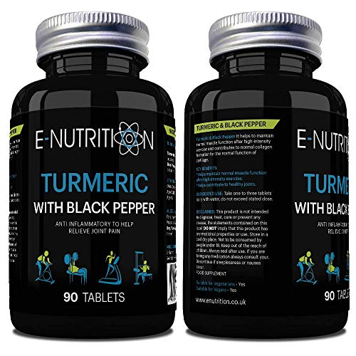 Turmeric Curcumin with Black Pepper Tablets | Anti-Inflammatory Supplement | Vegan | Made in UK | E-Nutrition