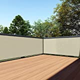 TANG 3' x 25' Beige Residential Commercial Privacy Deck Fence Screen 200 GSM Weather Resistant Outdoor Protection Fencing Net for Balcony Verandah Porch Patio Pool Backyard Rails