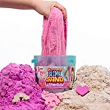 SlimySand Bucket, 5 Pounds of SlimySand in 3 Different Colors (Purple, Pink and White Glitter), 3 Molds, Bucket is Reusable for Storage. Super Stretchy & Moldable!