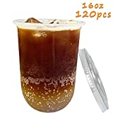 120 Pcs 16oz Plastic Cups With Flat Lids, Bulex Clear Plastic Disposable Drinking Cups, Iced Coffee Cups