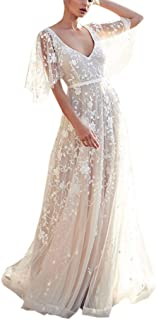 Howley Dress Womens V Neck Ball Gown Short Sleeve Lace Vintage Wedding Prom Skirt Evening Party Dress