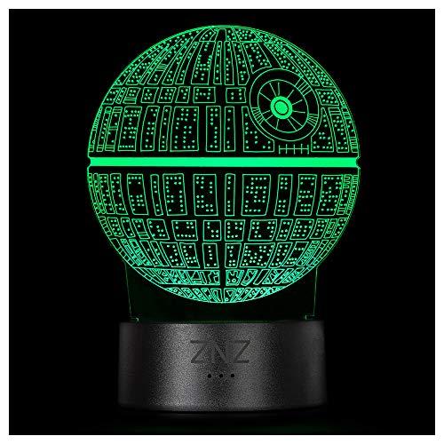 3D LED ilusión Luz de noche, Lámpara de Tres patrones y 16 colores Lámpara de decoración Cambio - Regalos perfectos para niños Mujer Hombres dia del padre (6-Death Star)