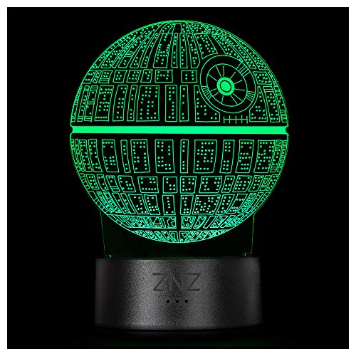 3D Star Wars Lampe, ZNZ LED Illusion Led Nachtlicht, 16 Farben Wechsel 3 Modell mit Remote & Smart Touch Dekor Lampe - Weihnachts- Star Wars Fans Geschenke für Kinder Männer Frauen (Death Star)