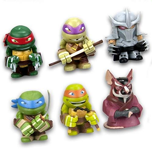 TMNT Ninja Turtles Komplett-Set 6 Figur Shredder Splinter 4cm Teenage Mutant Turtle Nickelodeon Gashapon Serie 1