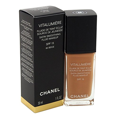 Chanel Vitalumiere Satin Smoothing SPF 15 Fluid Makeup for Women, Beige, 1 Ounce