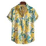 YOUQU Camisa Hawaiana Hombre,Funky Graphic,Night Club Party Manga Corta,Unisex Casual Beach Surf Aloha Summer Cardigan Tops,Amarillo,XL