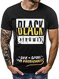 OZONEE Herren T-Shirt Kurzarm Modern Aufdruck Täglichen Shirt Rundhals Figurbetont JS/SS100683 SCHWARZ L