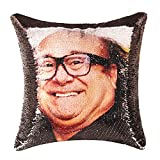 Merrycolor Funny Gifts Sequin Throw Pillow Cover Danny DeVito Magic Reversible Mermaid Sequin Pillow Case Decorative Cushion Cover Glitter Accent Pillow 16x16 Inches(Black)