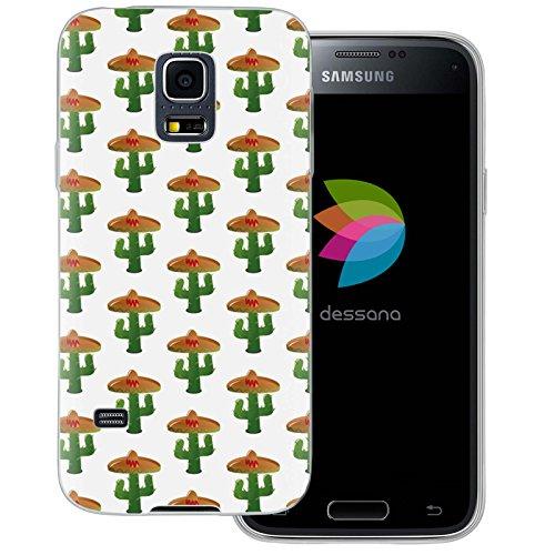 dessana cactus schattig transparante silicone TPU beschermhoes 0,7 mm dunne mobiele telefoon soft case cover tas voor Samsung Galaxy S Note, Samsung Galaxy S5 mini, Sombrero cactus