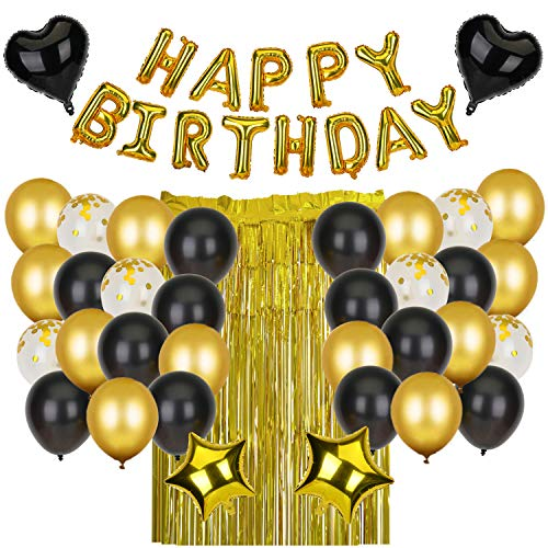 KATELUO Schwarzes Golden Geburtstag Dekoration, Happy Birthday Girlande Ballons, Geburtstag Party Deko mit Happy Birthday Banner, Geeignet für alle Altersgruppen