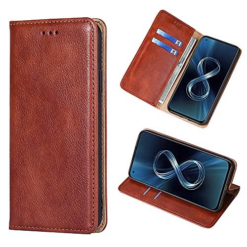Yiunssy Leder Handyhülle für Asus Zenfone 8 Hülle, Premium PU Leder Magnetische Automatische Adsorption Brieftasche Schutzhülle Flip Handyhülle für Asus Zenfone 8 Hülle - Braun