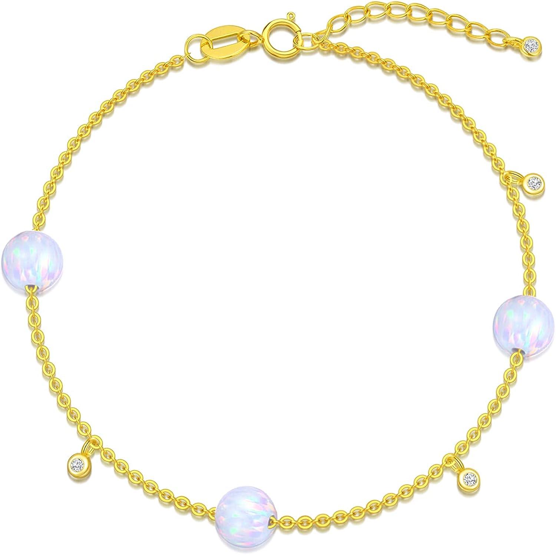 14k Solid Gold Diamond Bracelet for Women, Real Gold Bead Thin Chain Bracelet, Heart Moissanite Bracelet, Opal Bracelet, Cubic Zirconia Bracelet Chain Jewelry for Wife, Mom, Girls