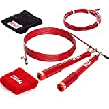 LOMA Premium Balanced Weighted Jump Rope - Speed Rope Jumping - Fitness Light Heavy Jump Rope - Skipping Exercise Jump Rope Workout Kit - Ideal Adult Crossfit Jump Rope - Bonus: Video Lessons